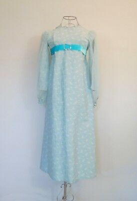 Vintage Girls Aqua Maxi Dress With Chiffon Sleeves and Velvet Trim - Size