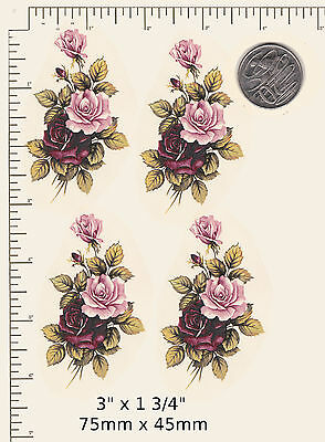 """4 x Waterslide ceramic decals Pink / Burgundy roses 3"""" x 1 3/4"""" PD87a"""