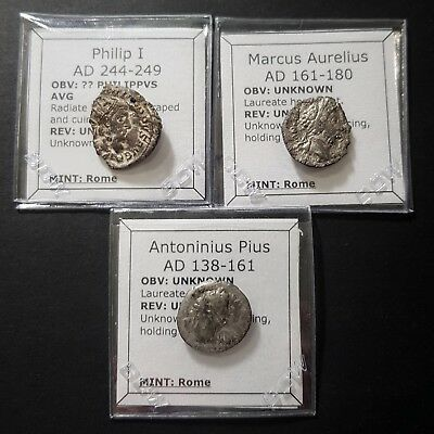 Lot of 3 Roman silver denarius and Antoninianus coins from 138-249 AD