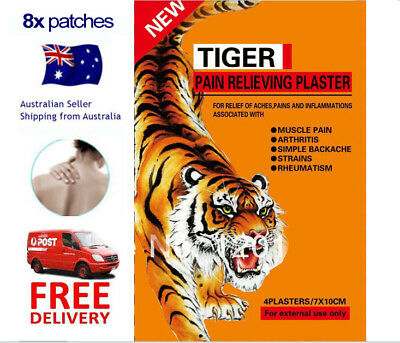 Tiger Heat Patch Ache Relieving Herbal Balm - 8x pcs - SALE & FREE POST - 7x10cm