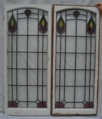 2 British leaded light stained glass window panels R/B766n WORLDWIDE DELIVERY!!!