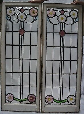 2 handpainted leaded light stained glass window panels R784b. INSURANCE INCLUDED