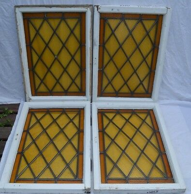 4 British leaded light stained glass window panels. R789. WORLDWIDE DELIVERY!