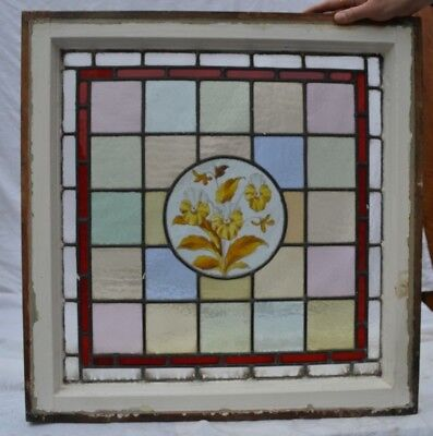 Victorian handpainted stained glass window R751d SHIPPING INSURANCE INCLUDED