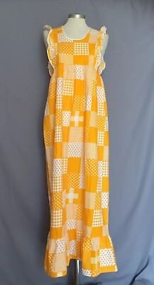 Vintage Girls Orange Patchwork Summer Dress Age 14/15