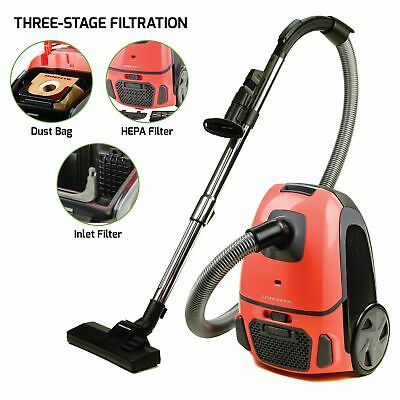 Ovente Canister Vacuum with Tri-Level Filtration Dust Bag Outlet HEPA Filter ...