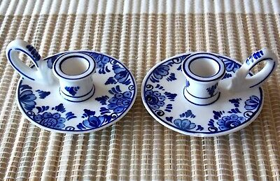 PAIR OF VINTAGE CHAMBER CANDLE STICK HOLDER-DELFT BLUE HOLLAND~CHAMBERSTICK~Rare