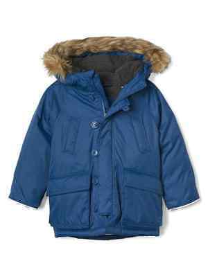 741469f18 NEW NWT Baby Gap Boys DOWN Snorkel Zephyr Blue Fur Puffer Coat Jacket 2T 2  yrs