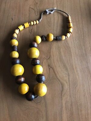 African Necklace Large Beads Vintage Antique