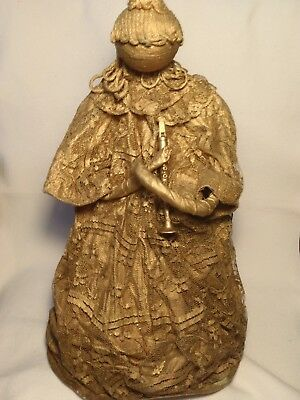 ANTIQUE VINTAGE LARGE GOLD PAPER MACHE ANGEL DOLL FIGURINE LACE OVERLAY 1950's