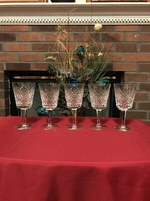 WATERFORD Deep Cut Irish Crystal ALANA Pattern Water Goblet Glasses Set Of5