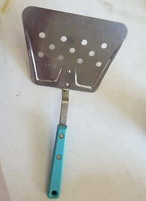 """VTG EKCO FORGE Stainless FLIPPER LIFTER WIDE SPATULA Turquoise10"""" 11 Hole"""