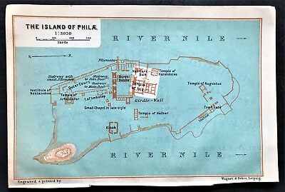 1908 ISLAND of PHILAE, EGYPT - Original Antique Color City Map - BAEDEKER
