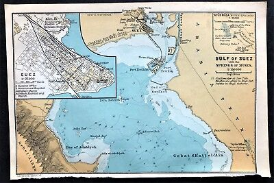 1908 GULF of SUEZ, EGYPT - Original Antique Color City Map - BAEDEKER