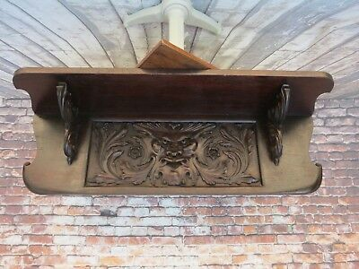 """Antique Large 46"""" Carved Wood Gargoyle Wall Shelf Gothic Architectural Salvage"""
