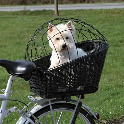 Bike Cat Dog Basket Wicker Bicycle Mesh Cover Rear Carrier Hold 12 kg Sturdy