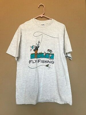 254b7d59 Vintage Mens Large 93 Hanes Fly Fishing Single Stitch Made in US Shirt