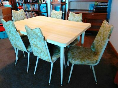 Vintage Chromcraft Table Chairs Green Floral Dinette Mid Century Retro