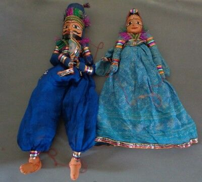 2 x Antique Indian Hand Made Marionette Puppets - 1 x Snake Charmer - 1 x Dancer