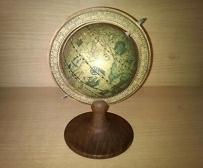 Vintage Retro Desk Globe On Wooden Stand Height 10 Inches