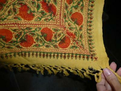 Vtg India block print gauze Hippie 60s 70s fabric Tapestry Bedspread Rare