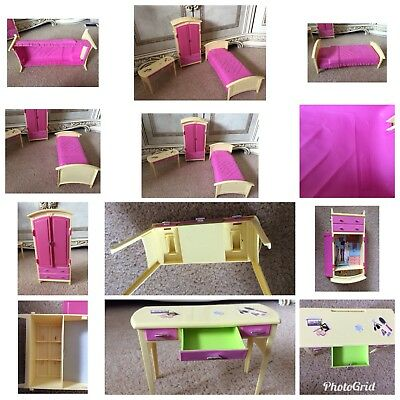 Vintage Mattel 2002 Barbie Bedroom Set Bed Wardrobe Dressing Table