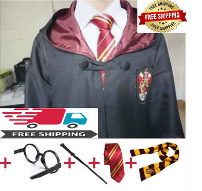 Harry Potter Adult Robe Tie Costume Cosplay Gryffindor Slytherin free shipping