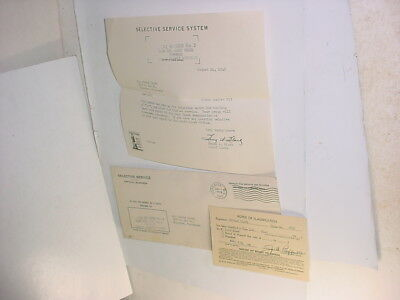 vintage WW2 1942 US draft card & letter class notice Superior WI