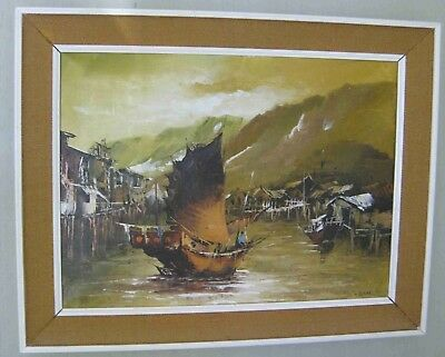 Oil Painting on Canvas, Original - Signed R Beal - Asian Boat in Village Harbour