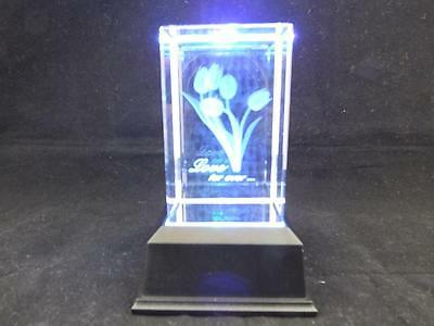 Love Forever with Tulips Crystal Laser Block with Colour Changing Light Box.