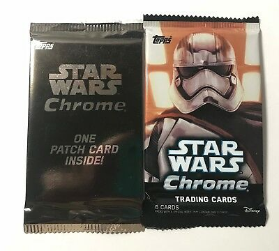 Topps Disney Star Wars Chrome Pack of Trading Cards and Patch Card Unopened NEW