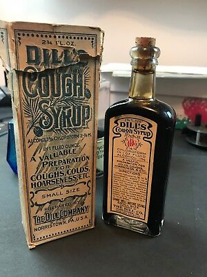 Norristown PA DIll Cough Syrup Antique Medicine Bottle Original Box & Label