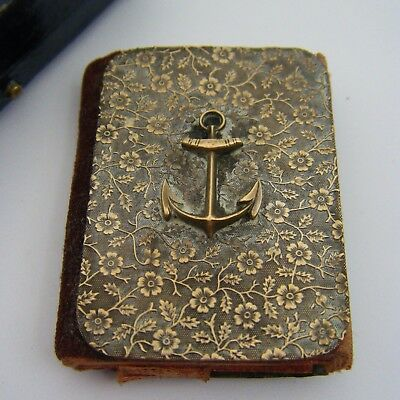 Antique C1900s / WW1 Naval Sweet-Heart Aide Memoire Note Book Pad. Brass Frontis