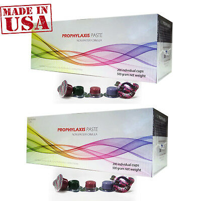 2 Boxes Dental Prophy Paste 400 cups Prophylaxis NonSplatter Med Grit Bubblegum