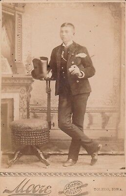 Cabinet Card 1895 Young Gentleman Top Hat Cane,formal Attire,,toledo,iowa,moore