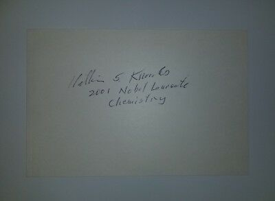 """""""Nobel Prize Chemistry"""" William Knowles Hand Signed Index Card Todd Mueller COA"""