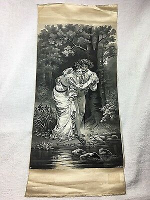 c. 1900 Antique Neyret Freres French Woven Silk Tapestry-Fording the Stream-Vely