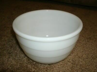 """GE Wide Ribbed Milk Glass Mixing Bowl Stand Mixer 7 3/8"""" Wide General Electric"""