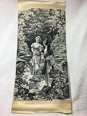 c. 1900 Antique Neyret Freres French Woven Silk Tapestry-Crossing Stream-Hamza