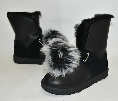 2e39b1935ff NEW! UGG ISLEY Waterproof Boot Black Leather 1018605 Size 8 MSRP $240