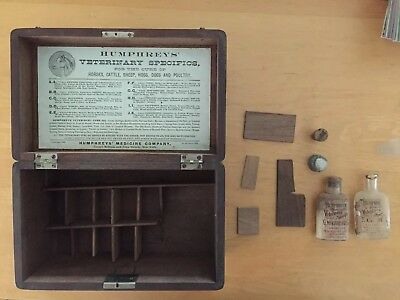 Humphreys' Veterinary Specifics Oil Wood Box Antique