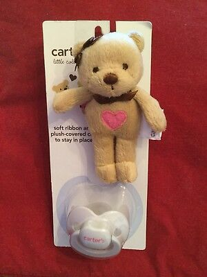 New Carter's Pacifier & Ribbon With Plush Teddy Bear Animal Clip NWT Cute!!!!