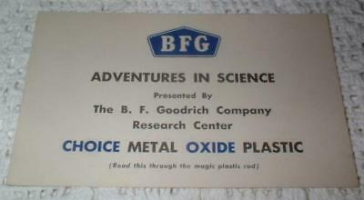 VINTAGE B F GOODRICH TIRES BFG ADVENTURES in SCIENCE RESEARCH CTR MAGIC ROD CARD