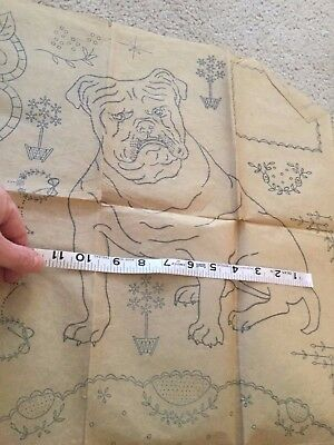 Vintage Transfer for Hand Embroidery Bulldog Parrot Flowers Storks with Babies