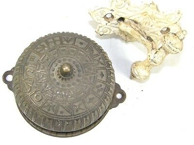 Antique Original 1880's Victorian Mechanical Doorbell & Pull Lever Ornate Brass