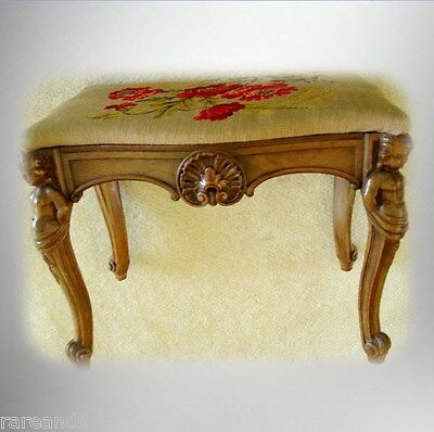 John M Smith victorian stool with needlework seat - figural legs