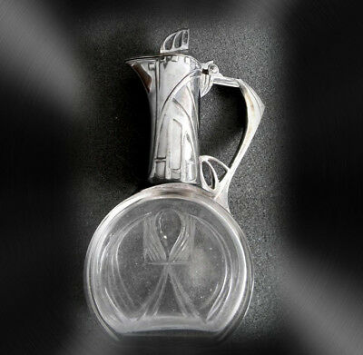 WMF art nouveau small lidded decanter with crystal base