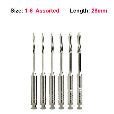 Peeso Reamers Endodontic Drills Assorted Sizes #1-6 28mm 6/Pkg