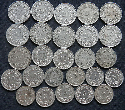 Switzerland, 26 Vintage Coins 5, 10 & 20 Rappen All Minted Prior To 1950