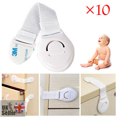 10/20xChild Kids Baby Safety Lock For Door Drawers Cupboard Cabinet Adhesive